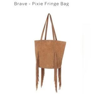 Brave Leather pixie fringe bag tan suede